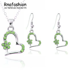 beautiful pendant sets Australia - Wholesale crystal women Beautiful flowers Heart shape pendant necklace earrings wedding Jewelry Sets