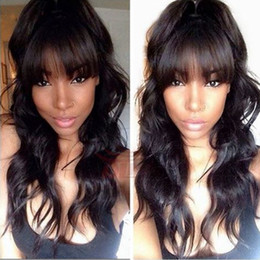 Black long straight Bangs human wigs online shopping - Human Hair Wig Full Bangs Body Wavy Unprocessed Virgin Lace Front Wigs Black Women Brazilian Full Lace Wig With Baby Hair