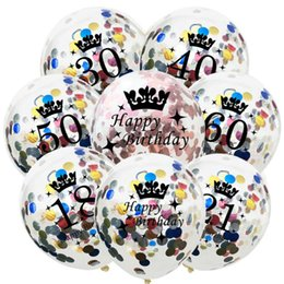 $enCountryForm.capitalKeyWord NZ - 12inch Happy Birthday Party Confetti Balloon Inflatable Balloon Birthday Decorations 30 40 50 Anniversary Party Favors
