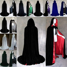 black red hooded cloak Canada - Cape Robe Velvet Hooded Cloaks Winter Wedding Capes Cheap Wicca Robe Wram Christmas Floor Length Long Bridal Wraps S-XXL