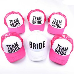 Bride Team Bride Bridesmaid Women Wedding Mesh Caps Snapback Dad Hat  Adjustable Unisex Baseball Caps Bone Snapback 6colors Hats 8e4623b3f57e