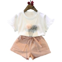 Discount ice cream suits - Summer Fashion Children Girl Clothing Set White Cotton Print Ice Cream Ball Printed Short Sleeve T-shirt and Bowknot Loo
