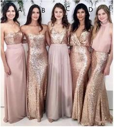 c2ffcc5ee 2019 Modern Blush Pink Beach Vestidos de dama de honor con lentejuelas de  oro rosa no emparejadas Vestidos de dama de honor Vestido formal para  mujeres