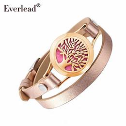 Vente en gros EVERLEAD Wrap Bracelets pour les femmes en or rose couleur arbre de vie en cuir bracelet médaillon aromathérapie parfum diffuseur jonc