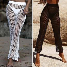 130a73fe15 Sexy Crochet Fishnet Pants Women Bikini Cover Up Swimwear Hand Crochet  Beach Sunscreen Trousers