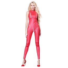 Leather jumpsuit catsuit women online shopping - Sexy Faux Leather Motorcycle Girl Uniform Sleeveless Red Zipper Catsuit Costumes PVC Party Jumpsuit for Women