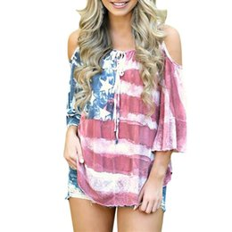Wholesale Hot Sale Female T shirts Women Clothes American Flag Loose th Of July Off Shouder T shirt Tops Sexy O neck Plus Size Tops