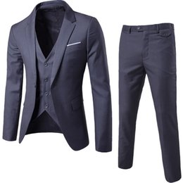 $enCountryForm.capitalKeyWord NZ - Men's Solid Color Casual Skinny Suit Groom, Groom Wedding Suit (suit + vest + trousers) Three Sets 9 Colors Size S-6XL