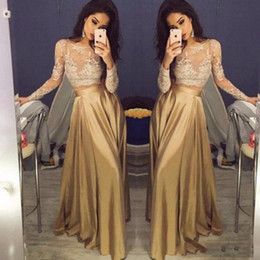 cheap triangle tops NZ - Elegant Lace Long Sleeve Gold Dress Two Piece Prom Dresses 2018 Satin Cheap Prom Gowns Sheer Top A Line Floor Length Formal Party Dress