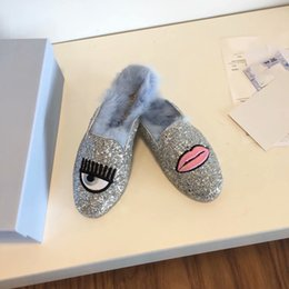 China Embroidered mouth big eyes half women wearing slippers plush new Europe Baotou flat eyelashes Muller shoes drag suppliers