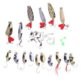Mix Artificial Bait Australia - hard 37Pcs Mixed Lures Metal Artificial Spoon Fishing Kit Spinning Hard Pesca Fishing Tackle Bait with Box