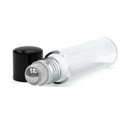 $enCountryForm.capitalKeyWord UK - Wholesale Price 10ml 1 3oz THICK Clear Glass Essential Oil Roller Bottles Refillable Glass Roll On Bottles With Metal Ball 700pcs lot