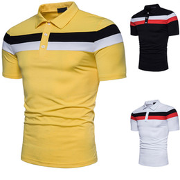 White Shirts Styles Designs For Men Canada - Poloshirts Short-Sleeve Summer Mens Shirt Striped Design T Shirts Solid Color Black White New Brands for Men Popular Shipping Slim Polos