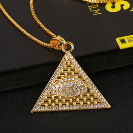 Eye Shaped Pendants Australia - Hip Hop Jewelry Stailess Steel Triangle Shape Ancient Egyptian Eye of Horus Pendant Necklace Gold Plated with Free Chain