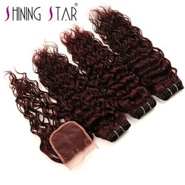 Haarverlängerungen Glänzende Sterne 1b Rot Ombre Lose Tiefe Welle Bundles 10-26 Zoll Brasilianische Farbige Menschliches Haar Bundles Schuss Schnelle Versand Nicht Remy