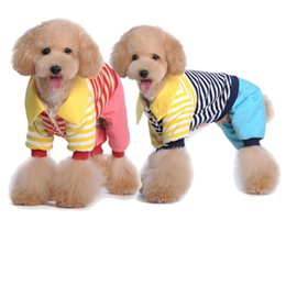 $enCountryForm.capitalKeyWord Canada - Winter Striped Style Clothing For Dog Pet Clothes Patchwork Spring Casual Campus Type T-shirt Puppy Lovely Clothes Drop Ship