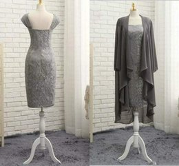 EvEning chiffon coat online shopping - 2018 Graceful Gray Mother Of The Bride Dress With Chiffon Coat Lace Sweetheart Knee Length Mother Dresses Evening Dresses