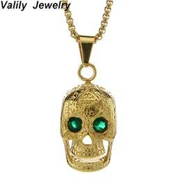 Gothic Chains Australia - Valily Gothic Big Skull Pendant Necklace Green Eyes Punk Skeleton Vampire Chain Necklace for Men Stainless Steel Men's