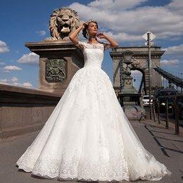 $enCountryForm.capitalKeyWord NZ - Vintage Princess Bateau Neck Lace Ball Gown Wedding Dresses Off Shoulder Appliques Short Sleeve Wedding Dress 2019 Vestidos De Novia