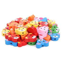 Wood Crafts For Kids UK - 100pcs colorful cartoon Shape Wood Beads Craft Kids Jewelry Making for bracelet 20MM