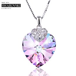 Pendants Green Amethyst Australia - Swarovski Necklace for Women Heart Shape Amethyst Crystal Pendant Necklace Fine Jewelry Choker Necklace Gift for Lady Collares S18101105