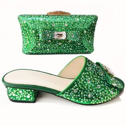 Shoes Green Color Australia - 00221-4 green color Italian Matching Shoes And Bag Set For Wedding Nigerian Style Women Party Shoes And Bag Set