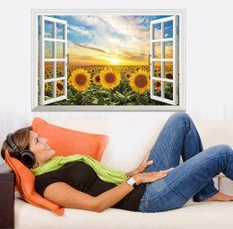 $enCountryForm.capitalKeyWord Australia - New wall stickers fake windows sunburst sunflower home background removable sticker wholesale
