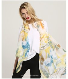 Cotton Floral Scarf Long NZ - spring twill cotton tassel scarf long style High quality Sheep stick print perfume lily print scarf Lady shawl women scarves 10pcs