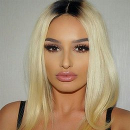 cheap 613 human hair NZ - Brazilian Ombre Honey Blonde Full Lace Human Hair Wigs With Baby Hair Cheap Brazilian Straight 1B 613# Blonde Glueless Full Lace Wigs