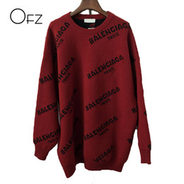 Wholesale 2017Autumn Winter European Style Women Sweaters Print Loose O Neck Knitted Pullover Batwing Sleeve Female Tops Free Size Sweater