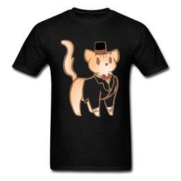 China Gentleman 2018 Black T Shirt Men Cat Dog Fox Cartoon Printed Cute T Shirt Summer Graphic Hip Hop Clothes For Group supplier cat dog cartoon shirt suppliers