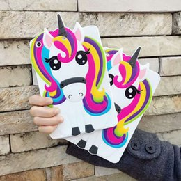 Discount wholesale printing ipad covers Pad Cases Cartoon Unicorn Fashion Tablet Protect Cover Soft Silicone Shell for 2 3 4 5 6 Children's Day Gift