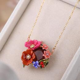 344f88d3f4ee Esmalte joya florales colgante collar para niñas joyería de la boda chapado  en oro moda corto cadena clavicular mujeres collares