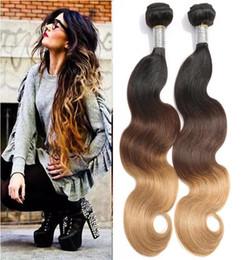 $enCountryForm.capitalKeyWord NZ - Ombre Color Hair Waves #1b 4 27 Body Wave 3 Tone Color Brazilian Virgin Human Hair Weft 3PCS Free Shipping