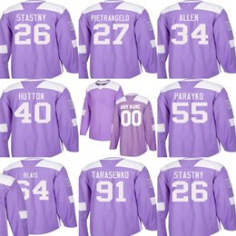 e22ed5cc491 Custom Mens Momens Kids St. Louis Blues 34 Jake Allen 40 Carter Hutton 55  Colton Parayko 91 Tarasenko Stitched Purple Ice Hockey Jerseys