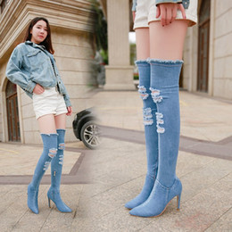 d8f29f324741 Denim over knee high boots online shopping - Women Newest Hollow out  Pointed Toe Over Knee