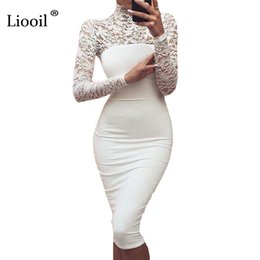 Sexy Women White Lace Dress New 2018 Winter Turtleneck Long Sleeve Red  Black Club Factory Bodycon Bandage Midi Party DressesY1882402 6a750786c