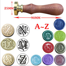 alphabet letter stamps NZ - Alphabet Letter Retro Wood Stamp Classic Initial Wax Seal Stamp Post Decorative Wood Stamping Craft Gifts Rubber Stamp Hot Sale