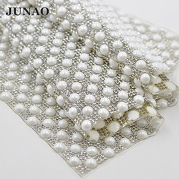JUNAO 8mm Hotfix White Pearl Beads Trim Glass Rhinestones Fabric Mesh  Crystal Pearls Appliques Strass Banding For DIY Dress Bags 32f8327d6f48