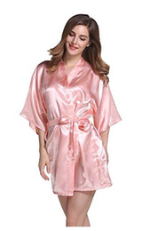 Wholesale Satin Bath Robes NZ - Silk Satin Wedding Bride Bridesmaid Robe  Floral Bathrobe Short Kimono c553552a8