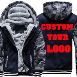 Fleece Custom Canada - Custom Logo Winter Fleece Lined Men Camouflage Hoodie Coat Camo Sleeve Patchwork Design Plus Size 4XL