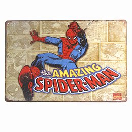 $enCountryForm.capitalKeyWord UK - Spiderman Super Hero Marvel Comic Weathered Retro Vintage Style Tin Metal Sign