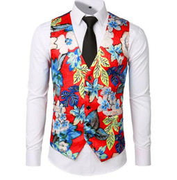 New Dress Vests For Men Slim Fit Casual Flower Printed Sleeveless Jackets Coat Mens Formal Waistcoats Dress Suit Vest