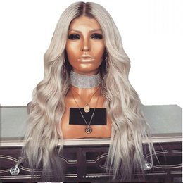 $enCountryForm.capitalKeyWord Australia - Fast shipping middle part Synthetic Grey Lace Front Wig With Baby Hair Heat Resistant 180% Density 30inches Long Ombre Wigs For Black Women