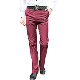 $enCountryForm.capitalKeyWord UK - 2018 Wine red bell Bottom pants Men's Spring and Summer Thin Section Big feet trousers Slim Korean trousers Men's Blue