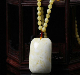 white bone pendants NZ - Natural white beeswax pendant men and women models amber necklace long old wax friendly card sweater chain bone honey pendant