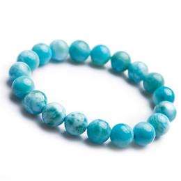 Precious stones bracelets online shopping - Precious Blue Natural Larimar Bracelet Gemstone Crystal Stretch Fitness Natural Stone Round Bead Bracelets For Women Men mm