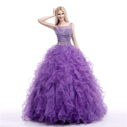Chinese  Bling Bling Scoop Neck Rhinestones vestidos de quinceanera Ruffles Skirt Purple Quinceanera Dress Debutante Gown Sweet 16 manufacturers