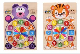 Kids Block Games Australia - 2018 New Baby toys wooden block clock building blocks education montessori table game kids toy for children teaching gifts