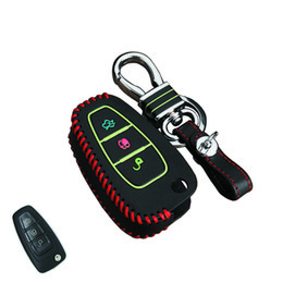 Discount ford leather car key case - For Ford Focus Fiesta 2013 Ecosport Escape Kuga Zinc alloy Leather Car key Case 3 buttons Folding Car key shell cover ke